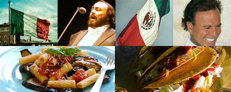 Photo collage of Italian and Mexican culture aspects.