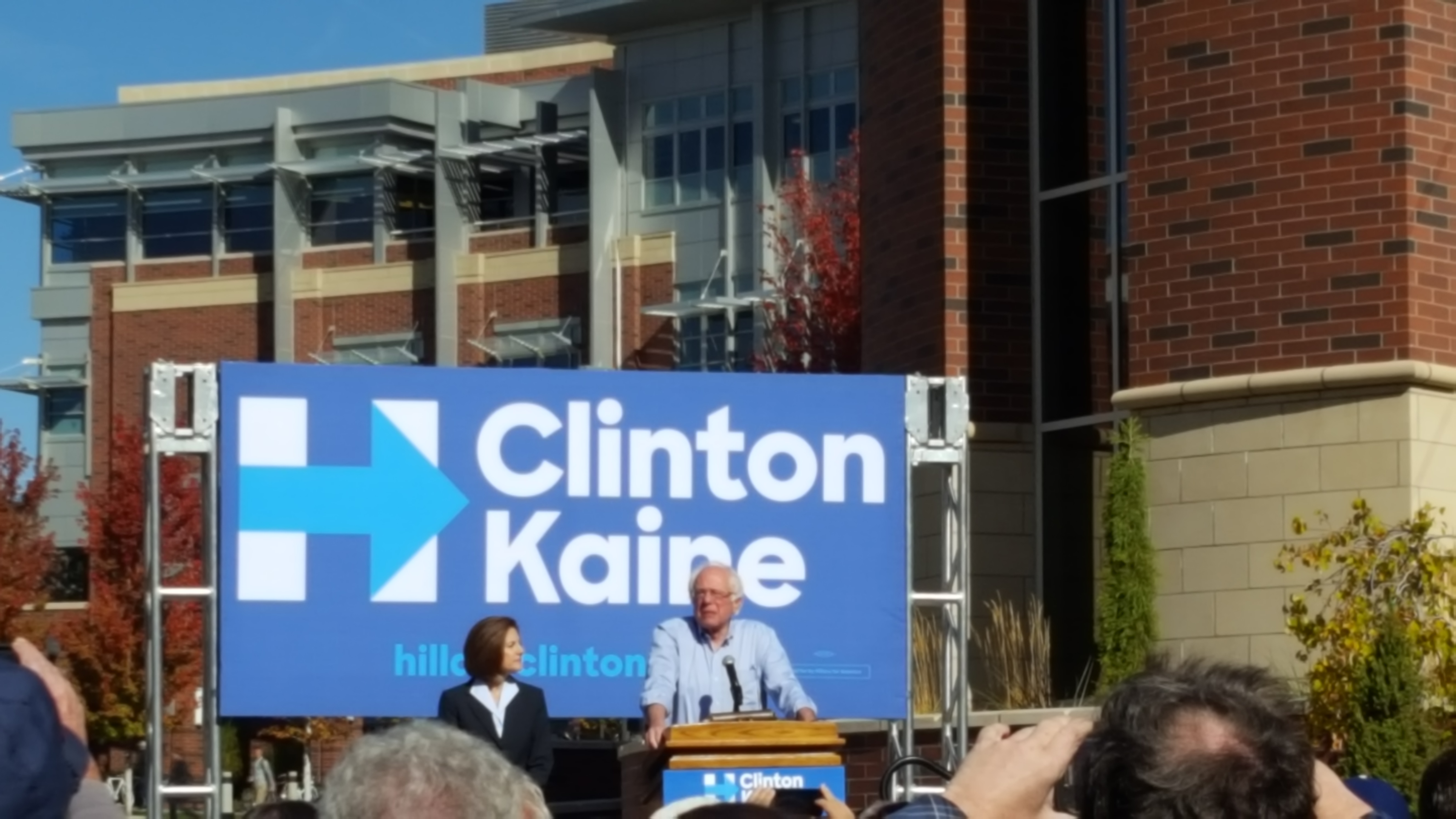 Bernie Sanders takes the stage to promote early voting.