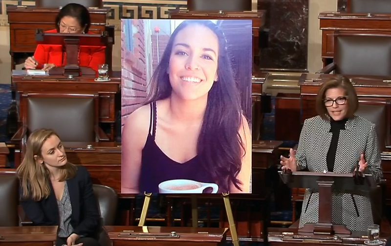 Nevada State Senator Catherine Cortez Masto (right) spoke in the U.S. Senate to ask for support in passing the DREAM Act. She also shared a letter from DACA recipient and Reno resident Maria Toca (pictured in middle photo). CREDIT: Screenshot from a Facebook video posted by the Facebook account of Senator Catherine Cortez Masto.