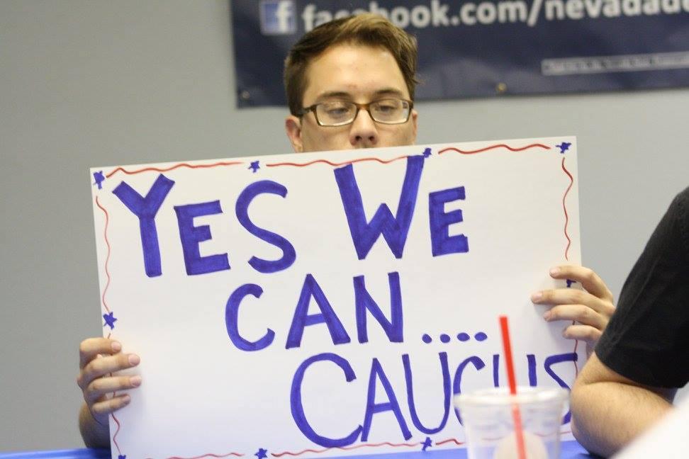 Nevada democratic volunteer makes sign
