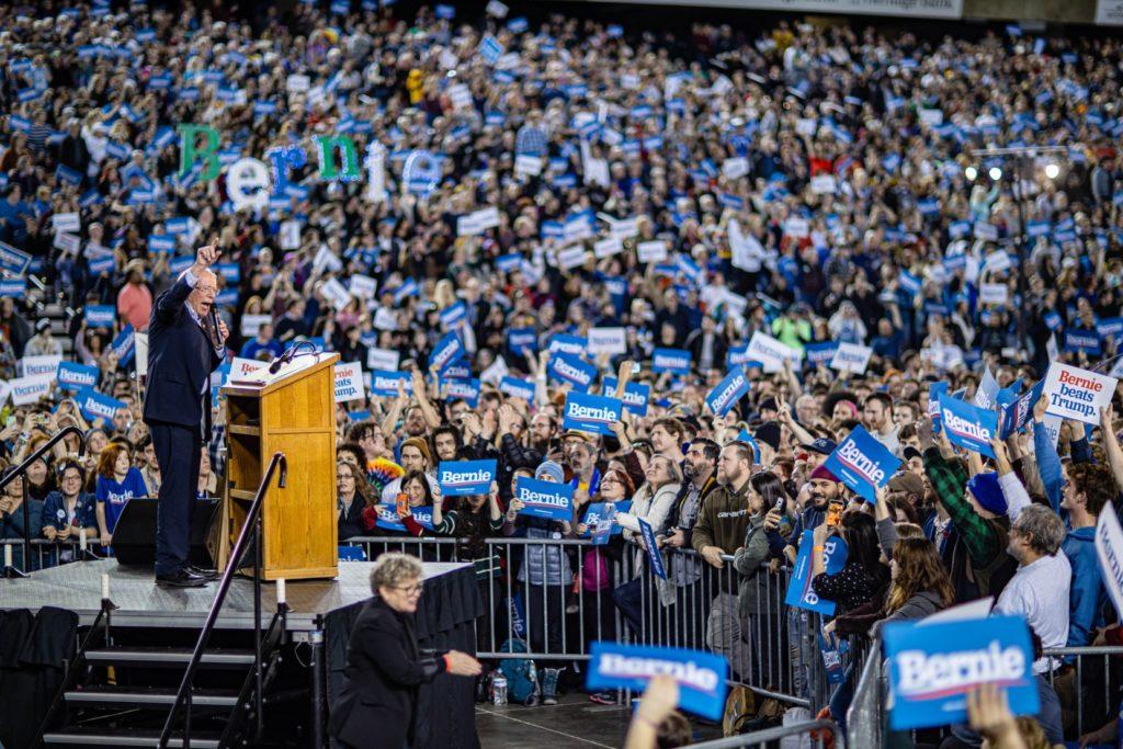 Bernie Sanders at a Nevada democratic rally.