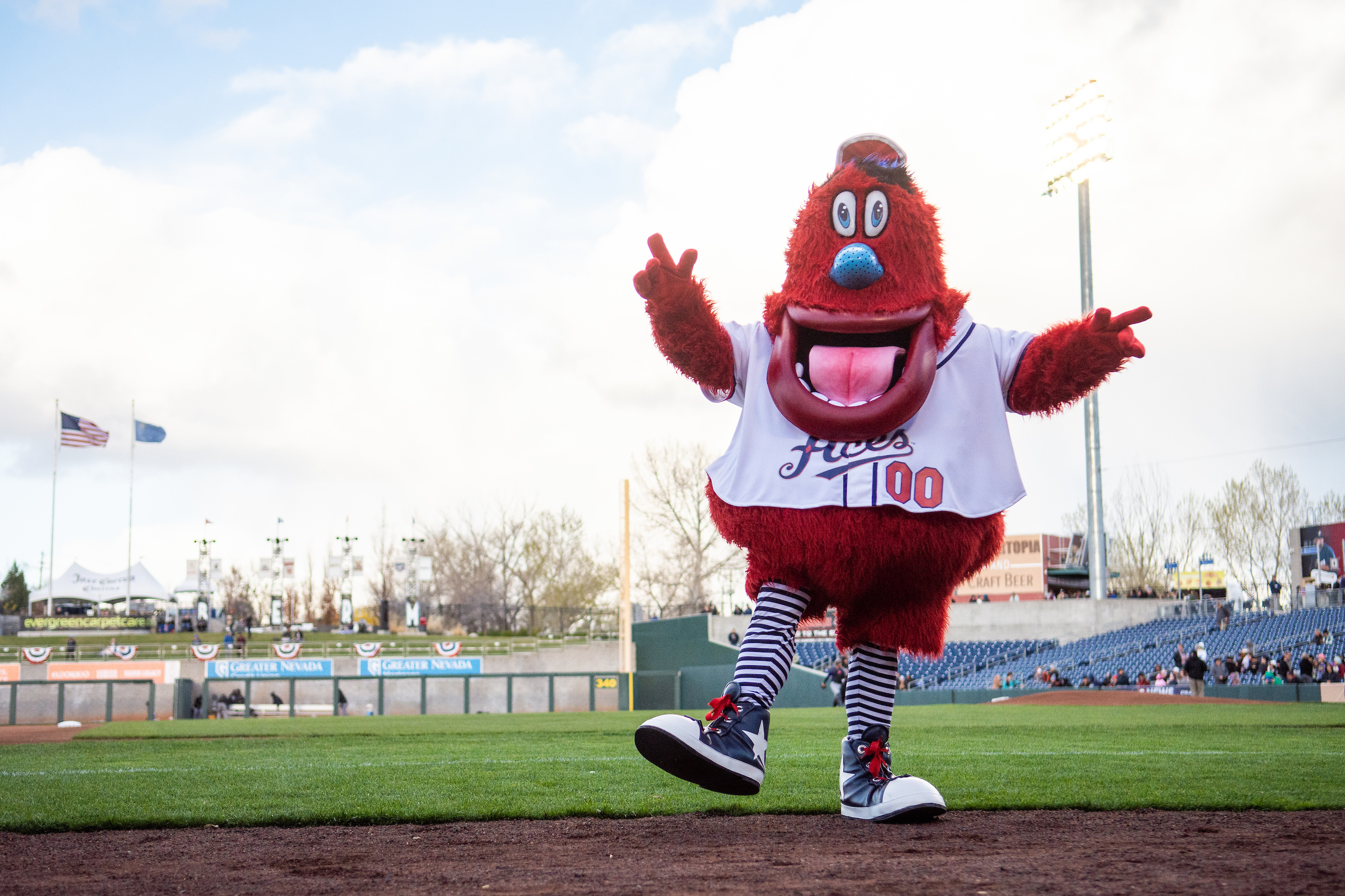 Archie, the Reno Ace's mascot on the team's home field.