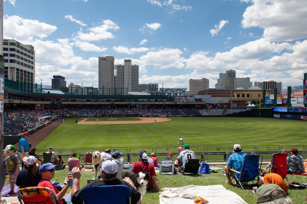 Wide shot of Reno Aces stadium during a baseball game.