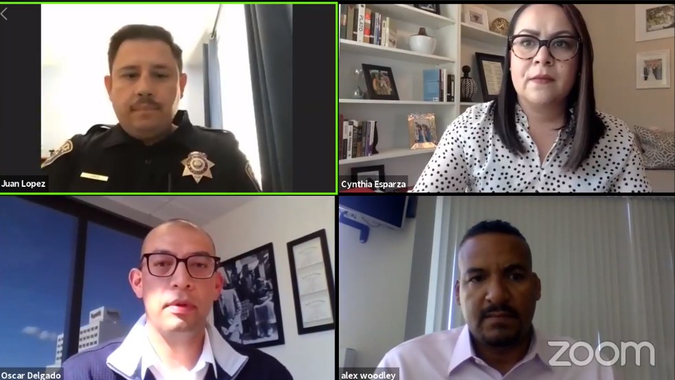 A screenshot of the Zoom video call with Councilmember Oscar Delgado, Sergeant Juan López and Cynthia Esparza and Alex Woodley from the city's neighborhood services department.