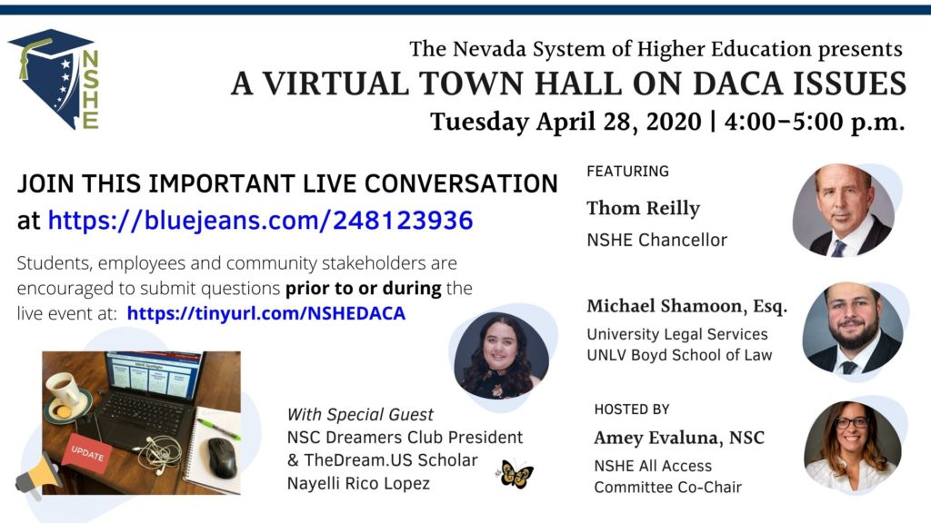 Digital flyer of virtual town hall meeting of DACA event.