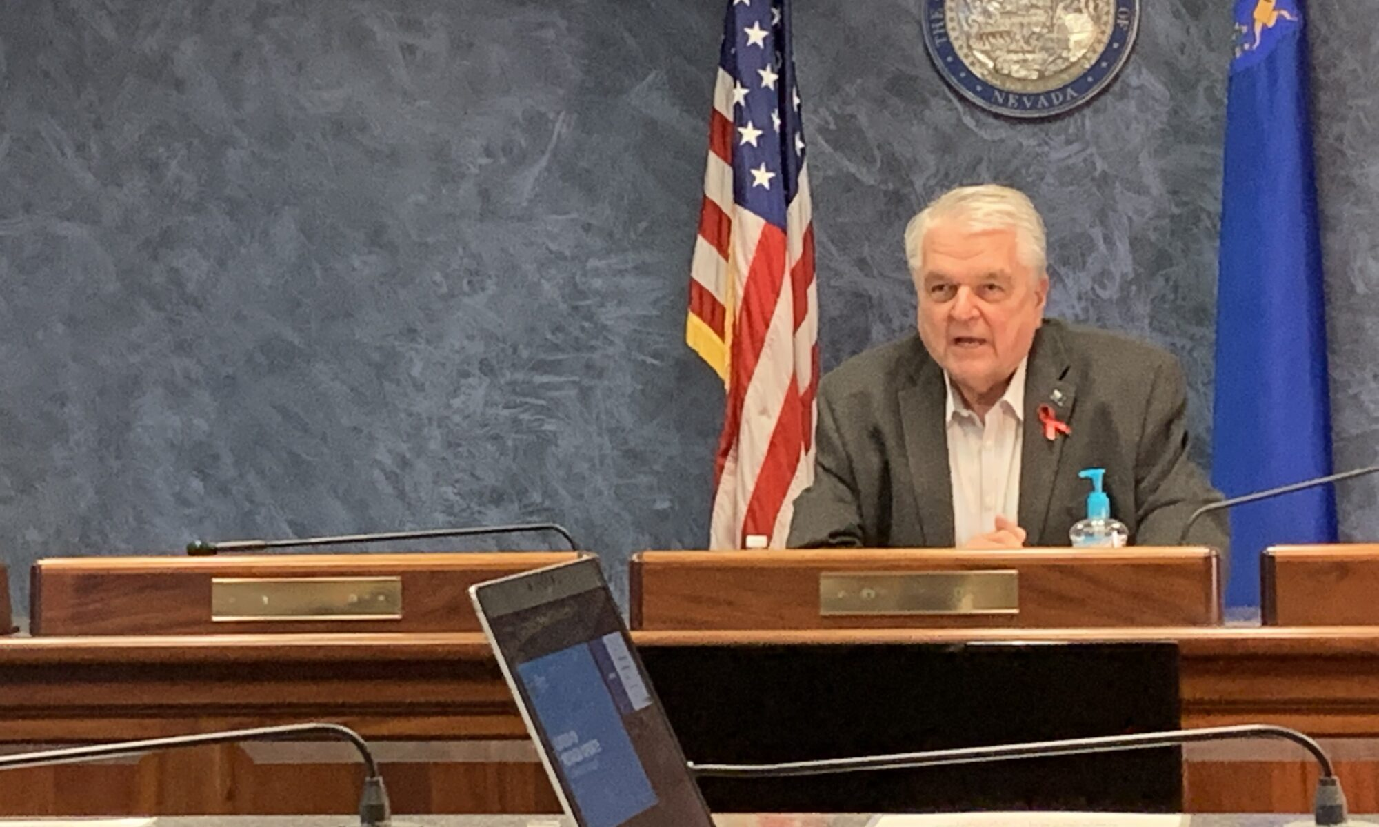Nevada Gov. Steve Sisolak during a media briefing.