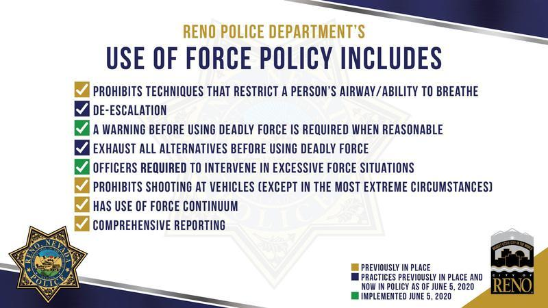 Graphic from the Reno police department with list of current and new use of force policies.