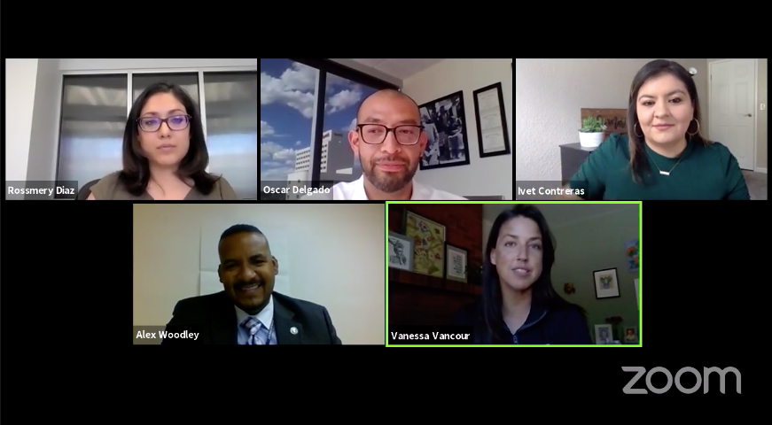 Zoom video call with Rossmery Diaz, Oscar Delgado, Ivet Contreras, Alex Woodley and Vanessa Vancour in Spanish about COVID-19 phase 2 reopenings in Reno.