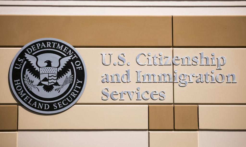 Emblem at a U.S. Citizenship and Immigration Services building