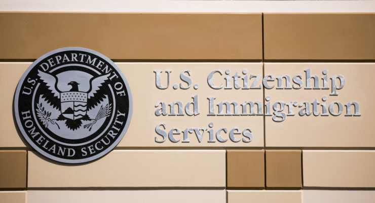 Emblem at a U.S. Citizenship and Immigration Services building