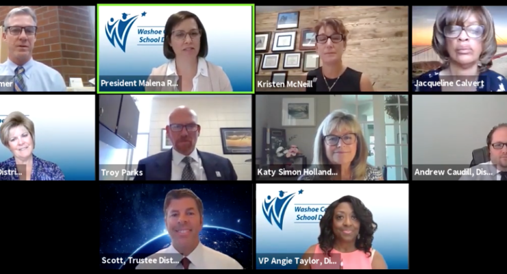 Washoe county school board trustees in a Zoom videoconference call