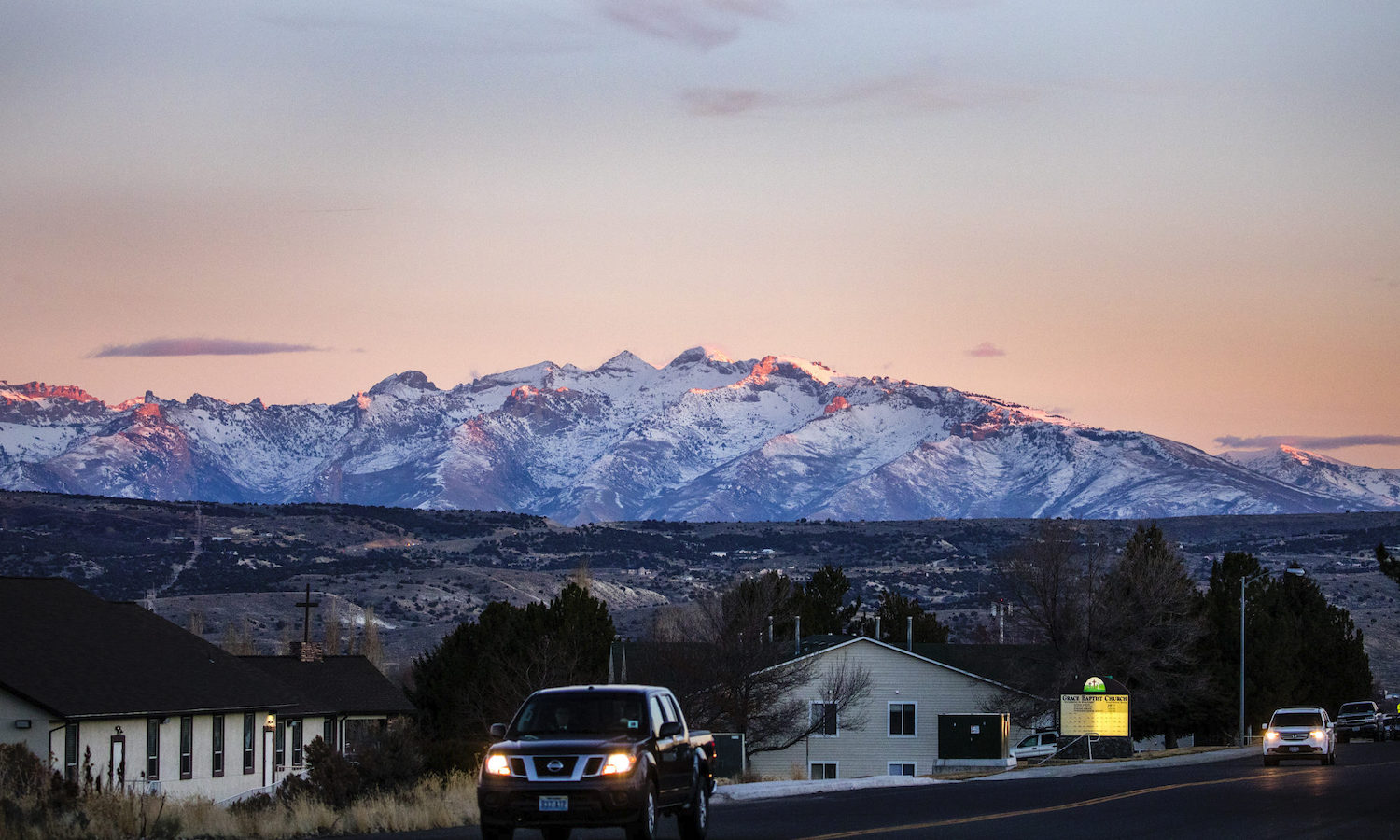 A sunset view of the Ruby Mountains as seen from Elko