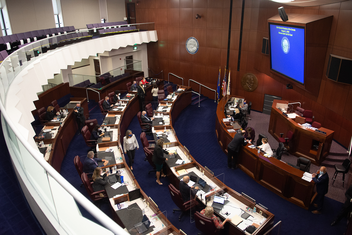 View inside of the NV legislative chambers in Carson City during the 32nd Special Session