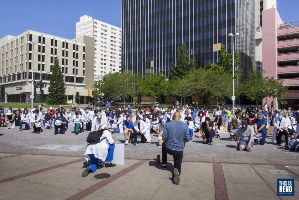 Health care providers gathered at Reno's City Plaza