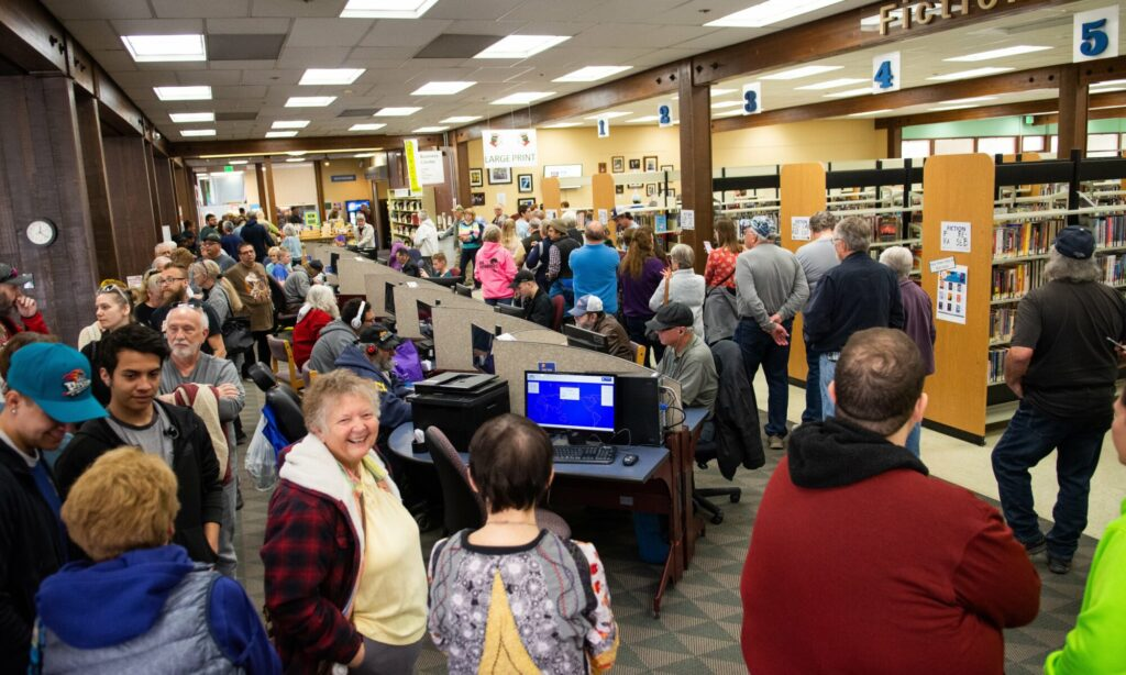People in line to vote at the Sparks branch of the Washoe County library system.