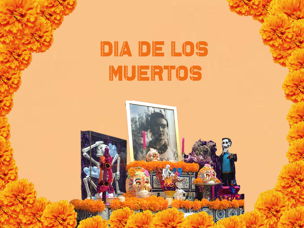 image with altar for the day of the dead with photo of Frida Kahlo