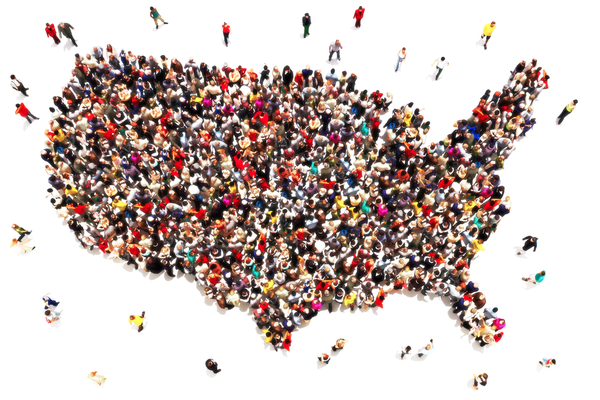 Outline of map of U.S.A. filled in with people of diverse backgrounds