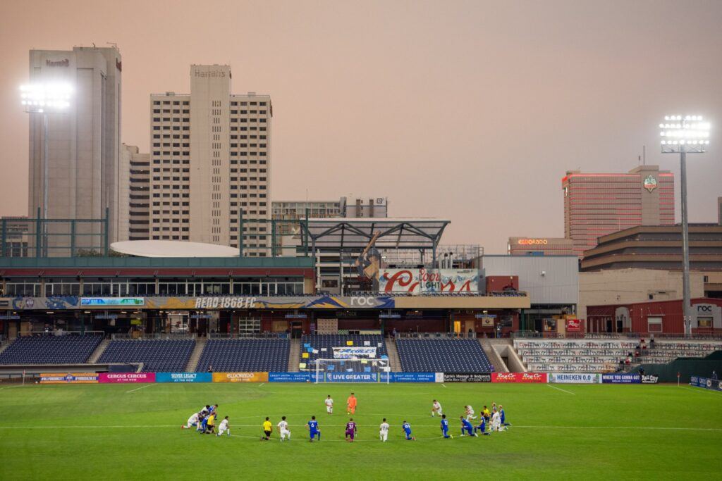 Soccer players at Greater Nevada Field