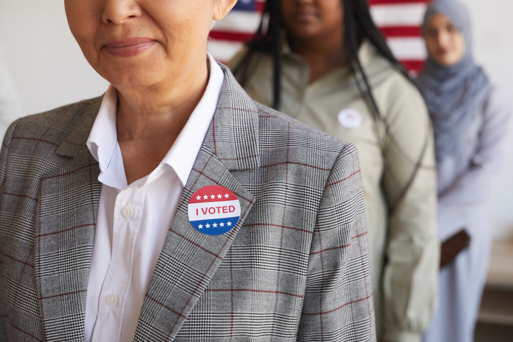 Women waiting in line at a polling location