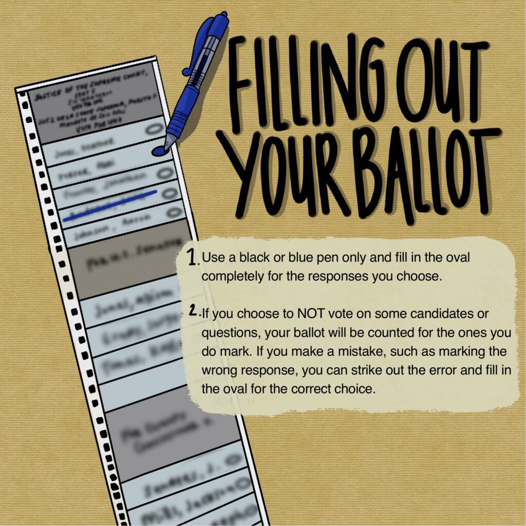 Illustration about casting and mailing in ballot in Nevada