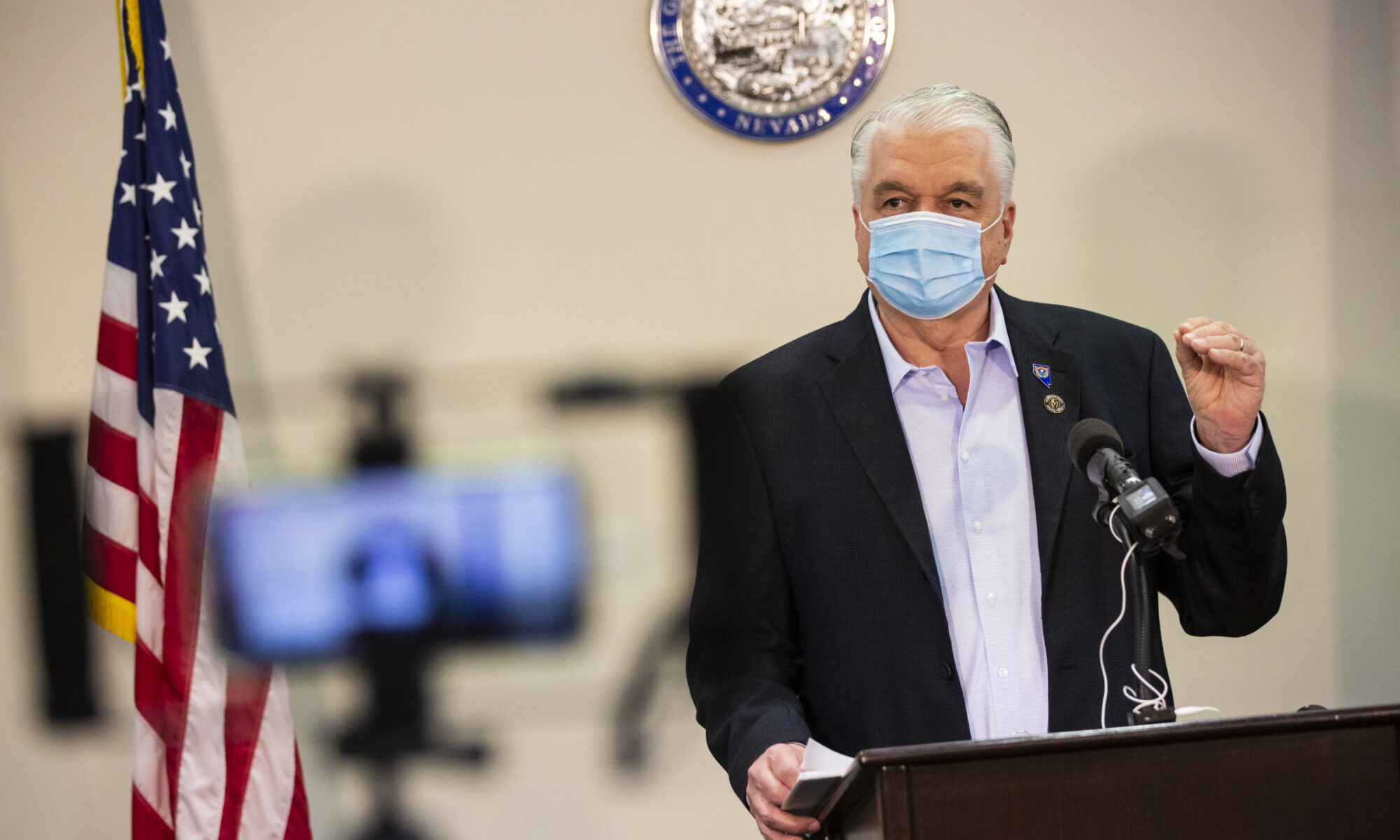Governor Steve Sisolak with mask on