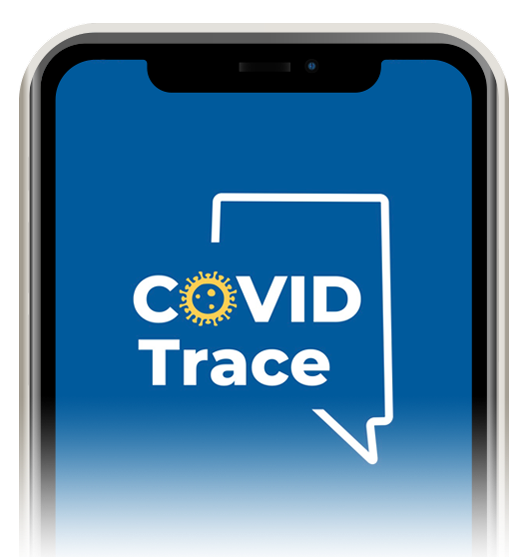 Ilustration of cellphone with outline of state of Nevada with COVID Trace written within