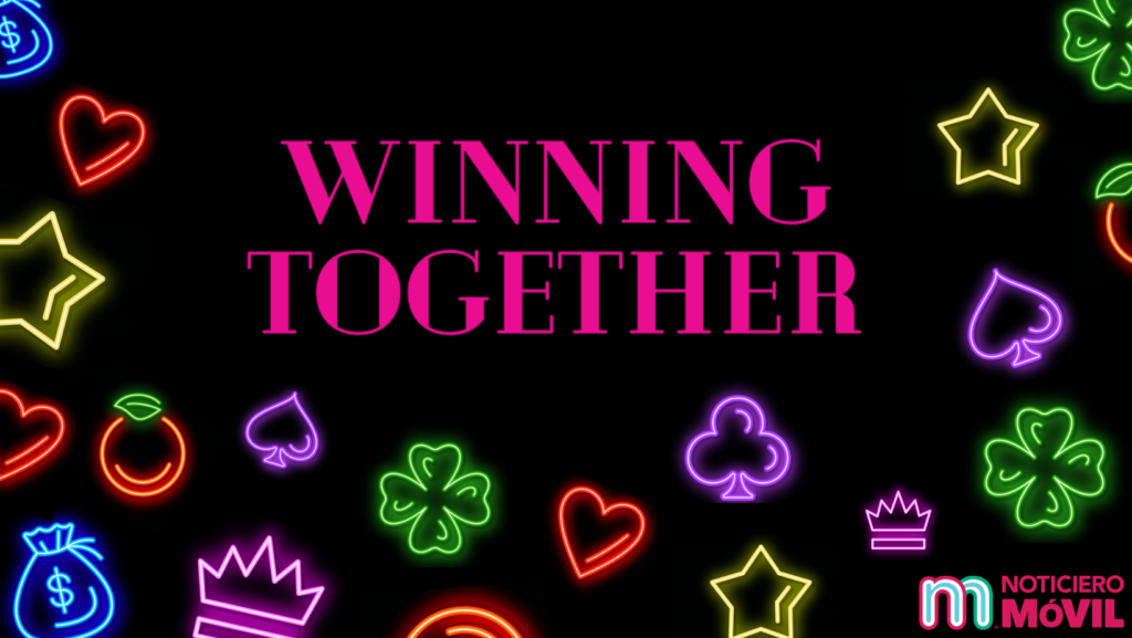 Illustration with casino themed graphics and phrase Winning Together