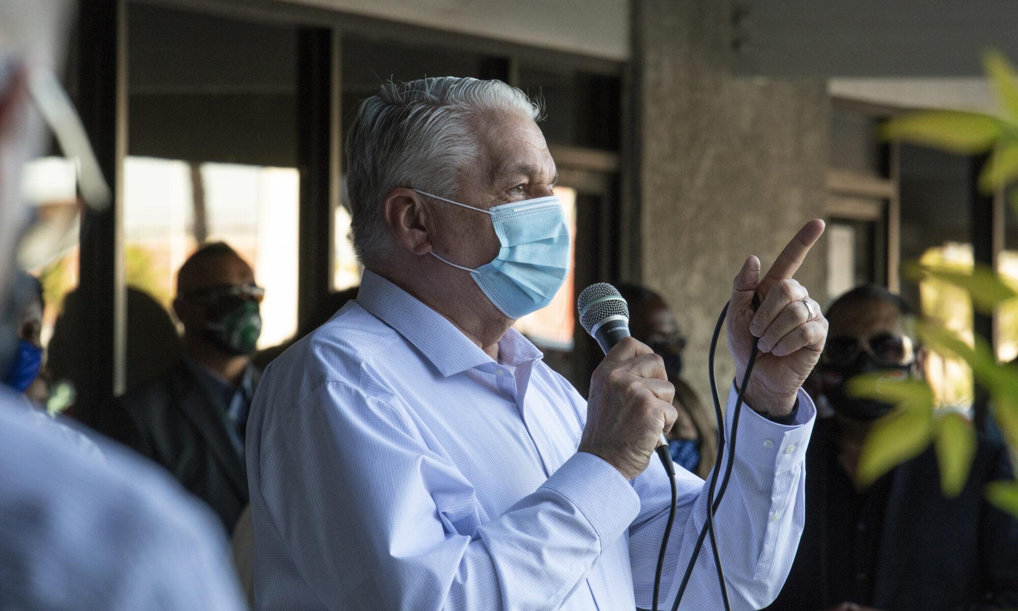 Nevada Governor Steve Sisolak speaks during an event