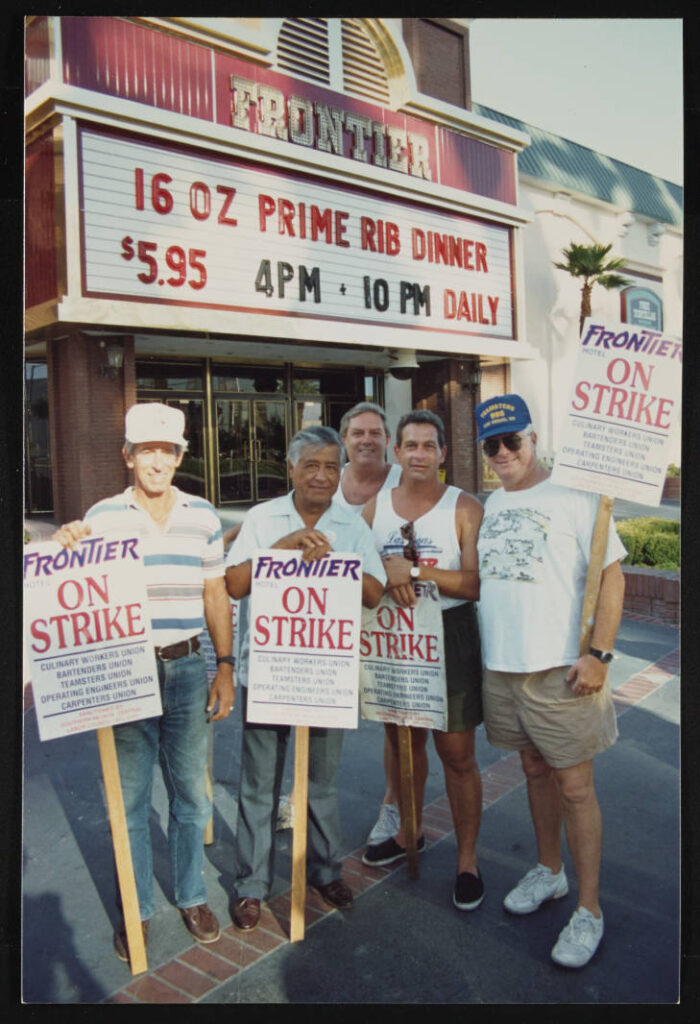 Cesar Chavez with picketers at the Frontier Hotel strike in 1992