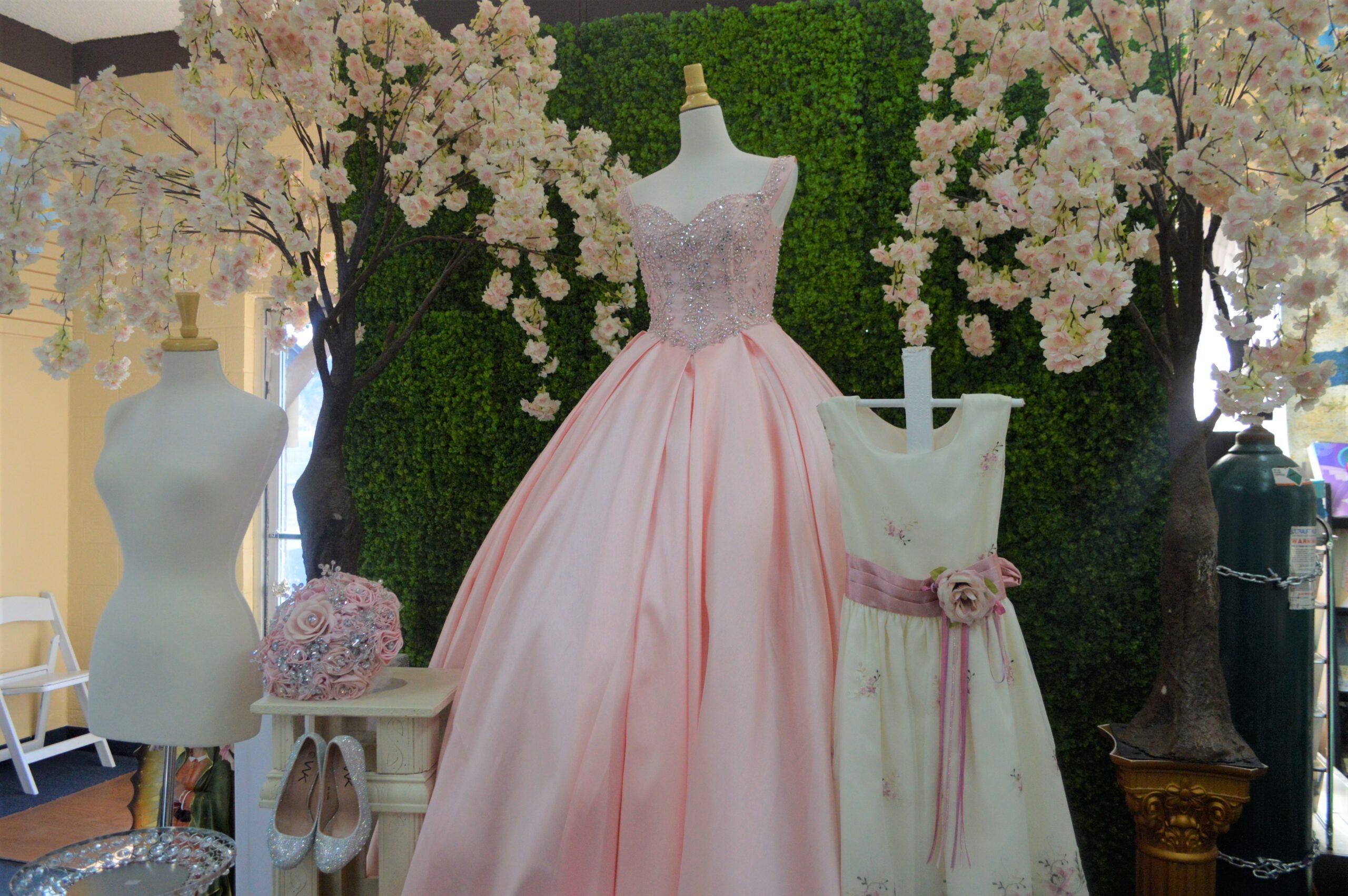 A pink quinceañera dress