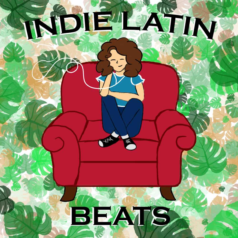 Graphic of woman listening to music on in chair