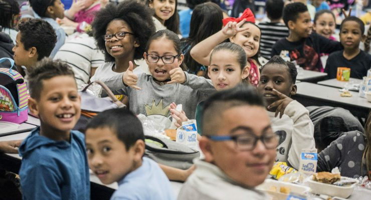 Students at Richard C. Priest Elementary School in North Las Vegas smiling