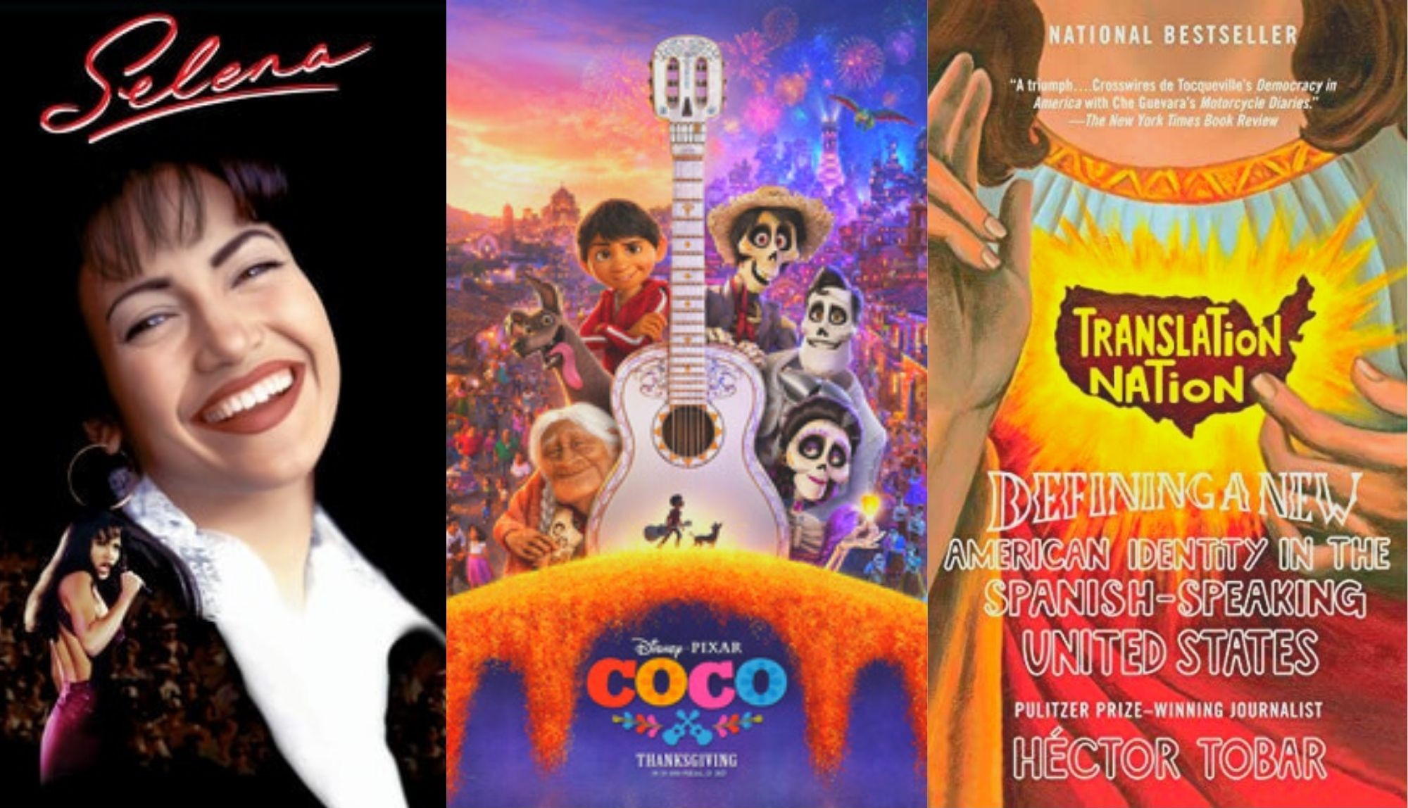 covers of movies selena coco and book cover translation nation
